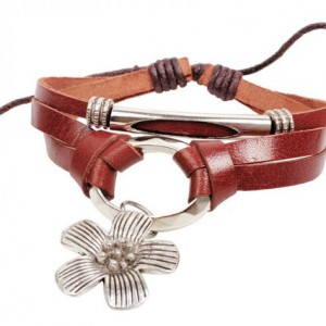 Armband leer bloem 1