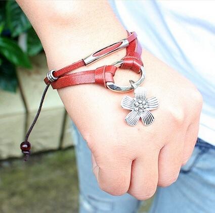 Armband leer bloem
